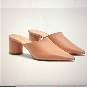Zara new 100 % leather nude beige heels mules 7